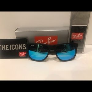 Ray Ban Justin Blue Mirrored lenses Black frame